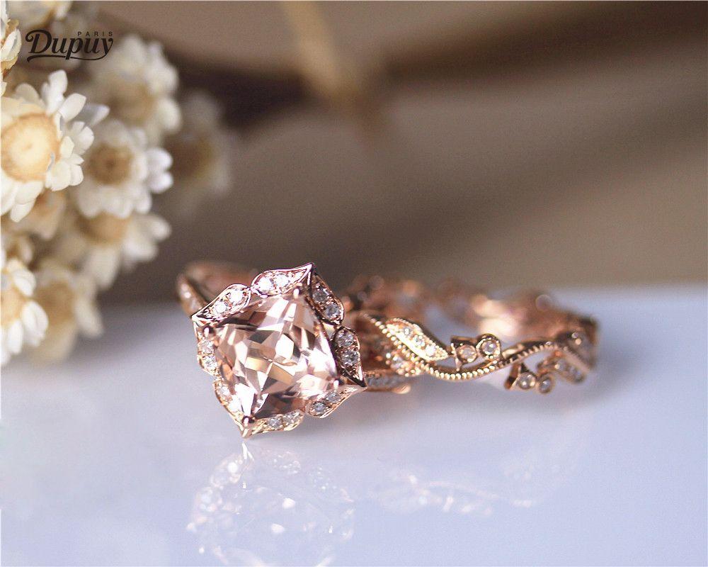 DUPUY 8mm Cushion Cut Morganite Ring Set Diamonds Halo&Vintage Full Eternity Diamond Wedding Ring Solid 14K Rose Gold Bridal Set