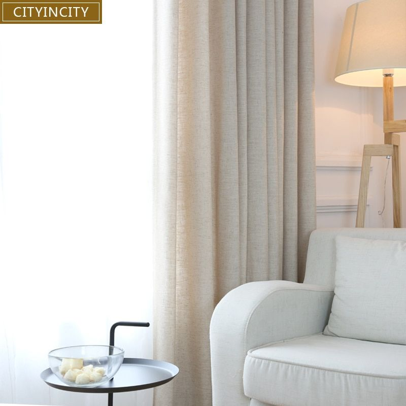 Ville en ville élégant moderne rideau pour salon drapé solide Faux lin tissu épais Rideaux pour chambre fenêtre Rideaux