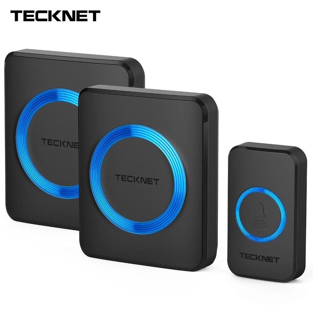TeckNet Wireless Doorbells Twin Waterproof Wall Plug-in Cordless Door Bell Chime 300M Range 52 Chimes 4-Level Volume Blue Light