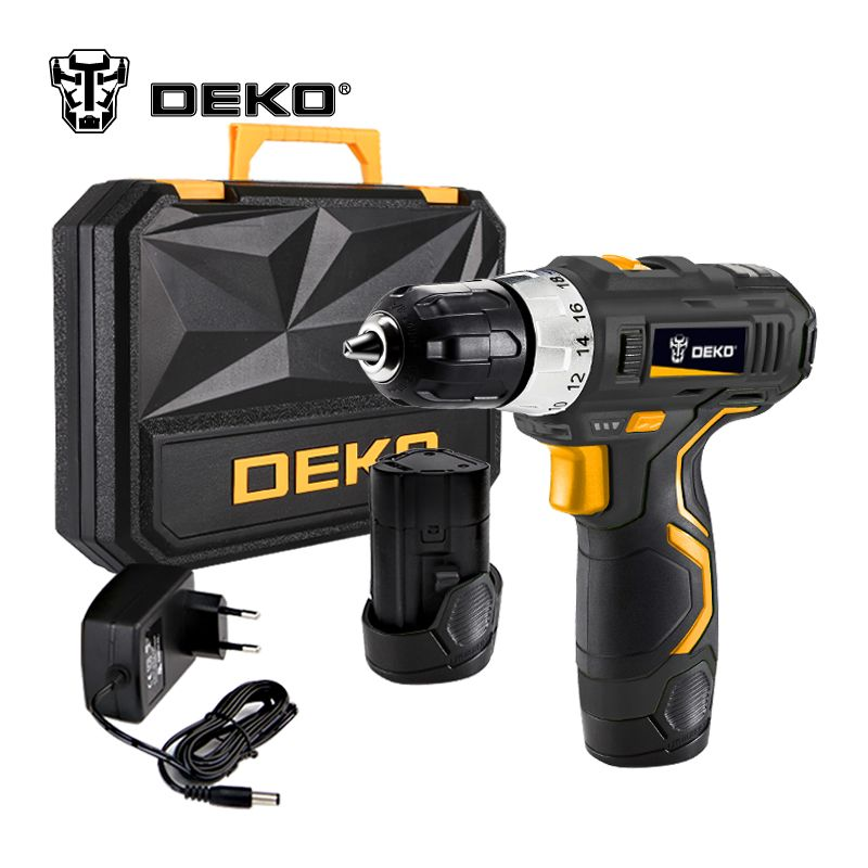 DEKO GCD12DU3 12-Volt Max DC Lithium-Ion Battery 3/8-Inch 2-Speed Electric Cordless Drill Mini Screwdriver Wireless Power Driver
