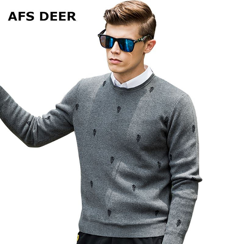 2017 New  Print Casual Mens Sweater  Brand Sweater Men Winter Men's O-Neck Cotton Jumpers Pullover Coarse Wool Male Sweater