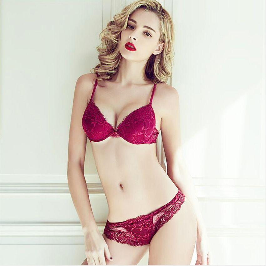 Femal Intimates Sexy Lingerie Set Gather Adjustable Underwear Women Lace Bra Set Push Up Bra And Panty Sexy ABC Cup Bra Briefs