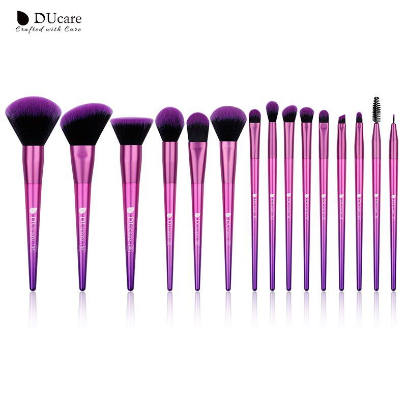 DUcare Pinceaux De Maquillage 15 pièces Brosses pour le Maquillage Fard À Paupières Fondation Poudre Blush Brosse À Sourcils Maquillage Brosse Set Cosmétiques Outils