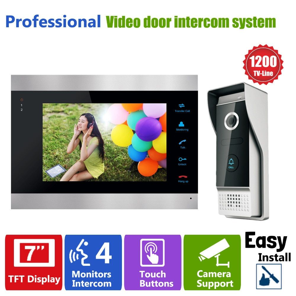 Homefong Door Access Control 7 LCD Display Video Doorbell Door Phone <font><b>1200TVL</b></font> Security Camera Intercom