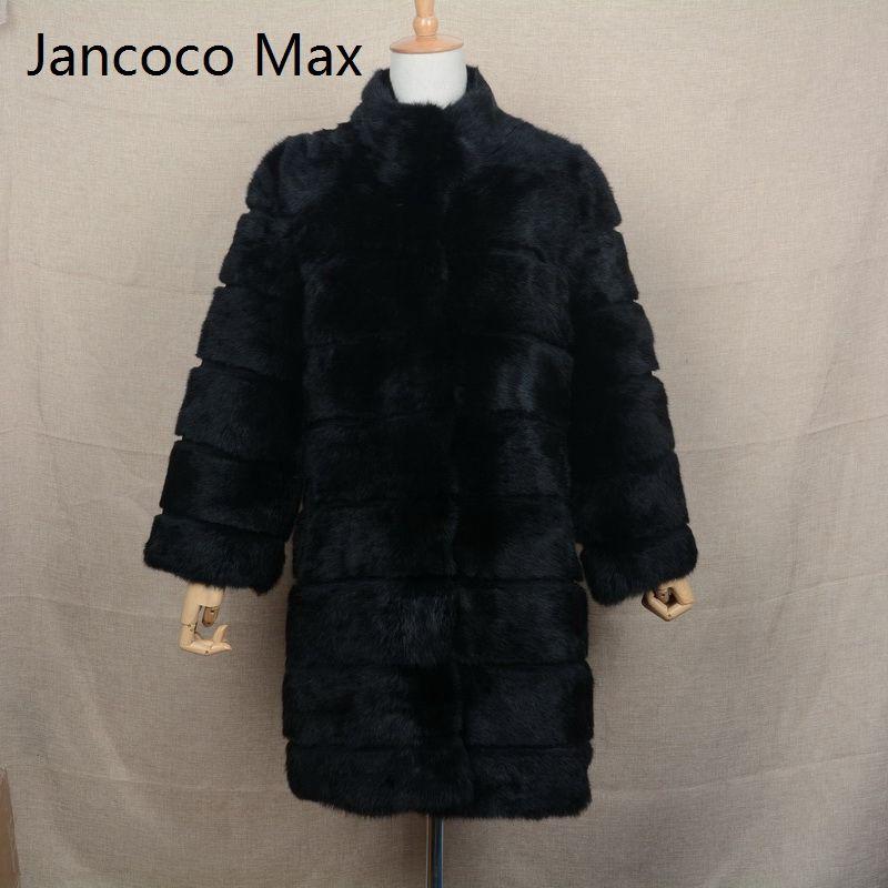 Jancoco Max 2018 новая зимняя реального кролика Меховая куртка теплые мягкие длинные Мех животных пальто Для женщин рождественское платье s1675