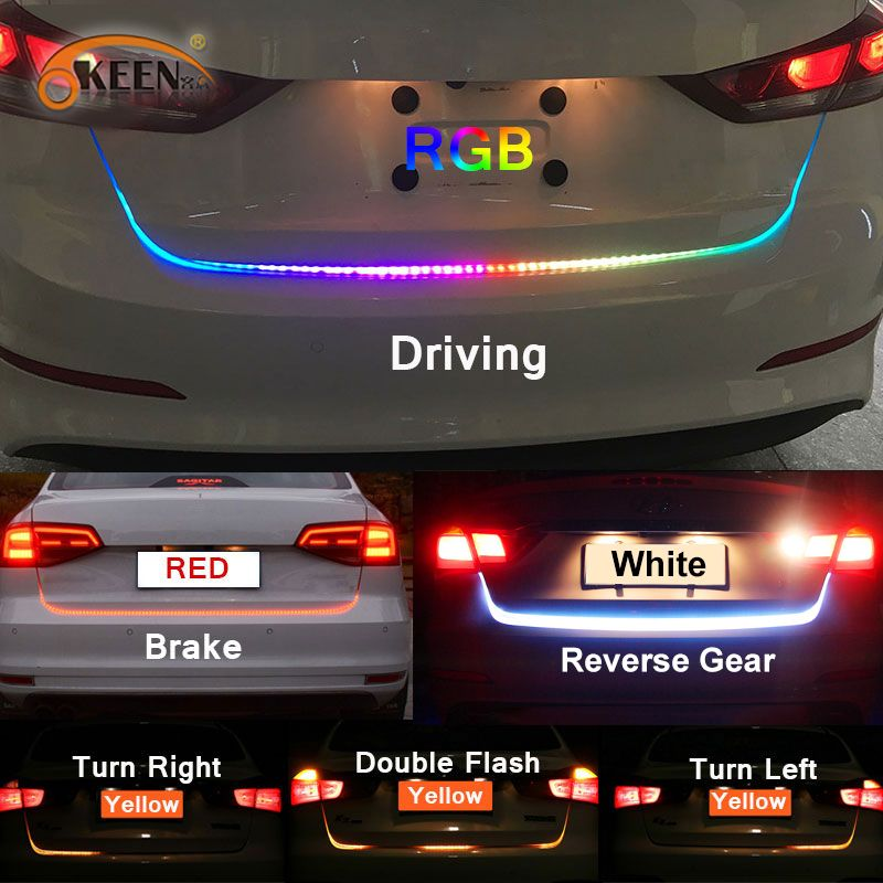 OKEEN Amber Turn Signal Flow led trunk Strip light Tailgate luggage 12V Car Rear Lamp Dynamic Streamer Floating RGB led strip