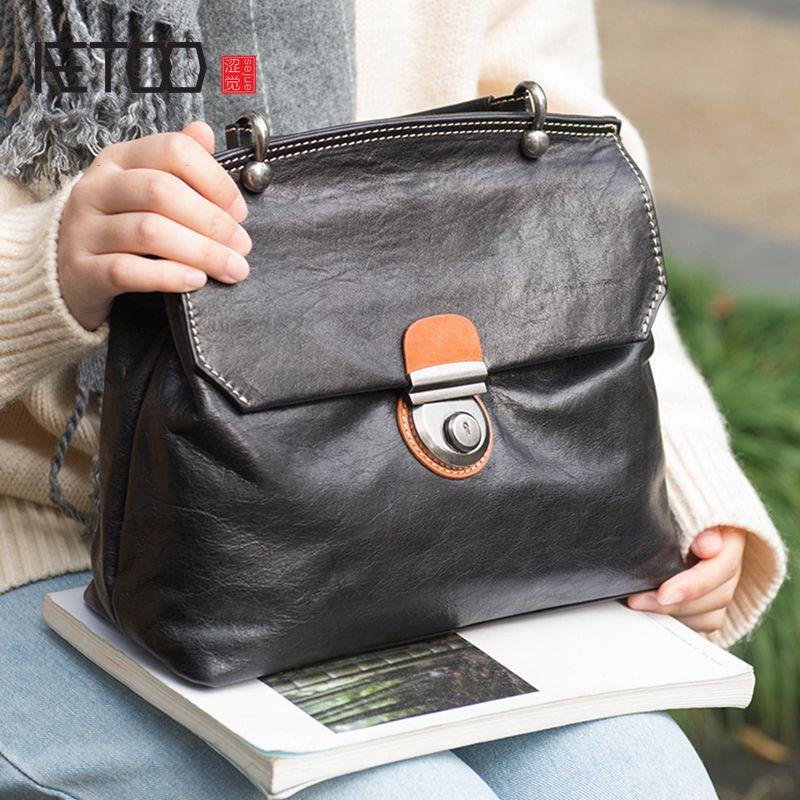AETOO Briefträger Tasche weibliche Leder retro casual große kapazität rindsleder handtasche schulter pendler weiblichen beutel schräg tasche