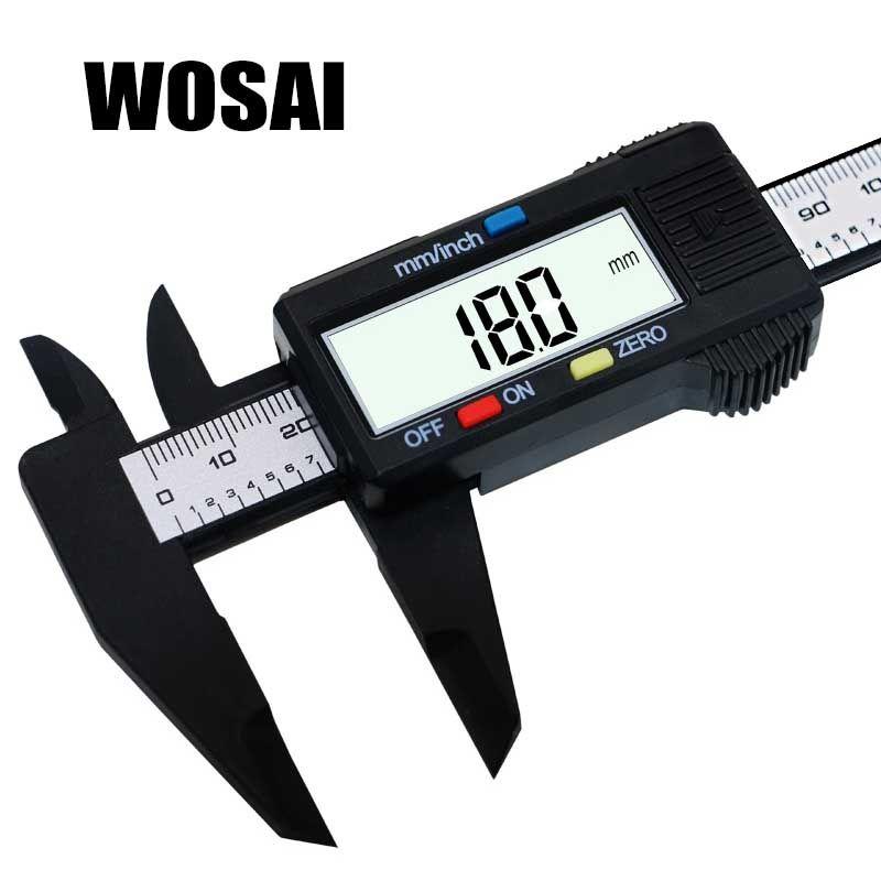 WOSAI 6 pouces LCD numérique 150mm électronique en Fiber de carbone Vernier calibre micromètre