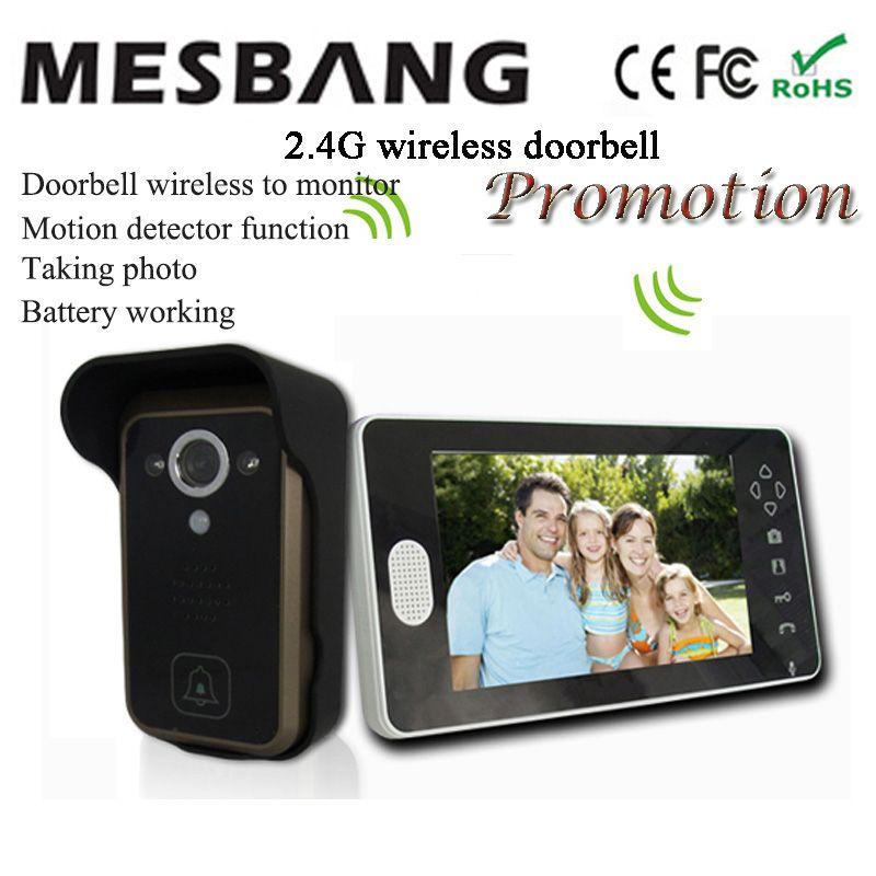 2017 hot new black color 2.4G wireless video doorbell wireless door video intercom phone 7 inch monitor easy to install