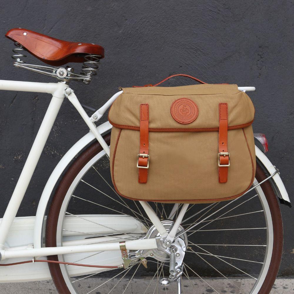 Tourbon Vintage Fahrrad Pannier Tasche Hinten Rack Stamm Fahrrad Rücksitz Gepäck Doppel Roll-up Tasche Retro Gewachste Wasserdicht Leinwand khaki