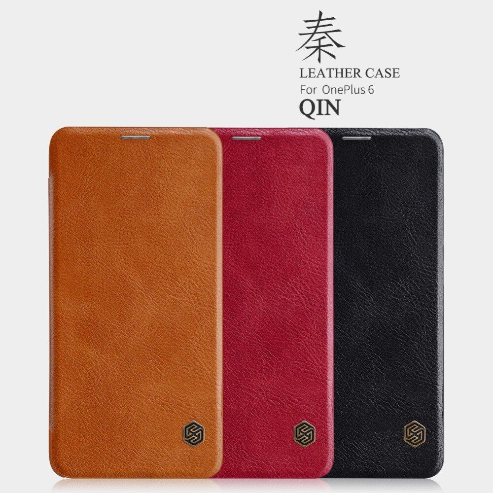 Nillkin Vintage Qin flip PU leather cover For one plus 6 case Wallet Leather Case smart wake up function For oneplus 6 case 6.28