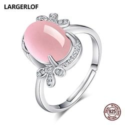 LARGERLOF 925 Sterling Silver Rose Quartz Ring Women Fine Jewelry 925 Silver Jewelry Ring Silver 925 RG47009