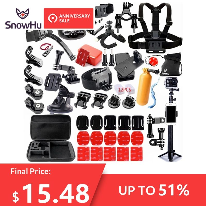 SnowHu For Gopro accessories set for go pro hero 7 6 5 4 3 kit 3 way selfie stick for Eken h8r / for xiaomi for yi EVA case GS98