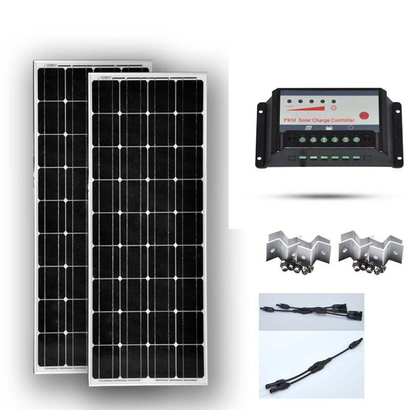 TÜV CE Solar Panel Kit 200 W Panneau Solaire 12 v 100 W 2 Pcs Solar Laderegler 12 v /24 v 20A PWM 2 in 1 Stecker Z Halterung