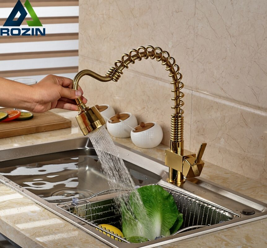 2016 New Style Spring Kitchen Sink Mixer Taps One Handle Pull Out Cold Hot Water Faucet Golden
