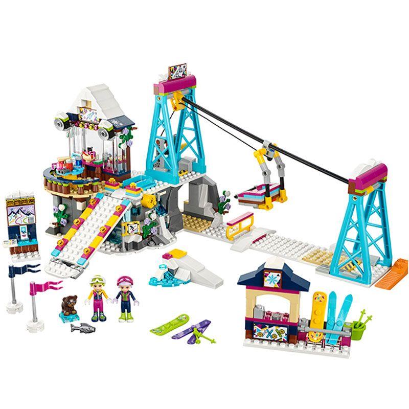 01042 Friends LegoINGlys 41324 Snow Resort Ski Lift Gift Club Ski Vacation Skiing Figure Building Blocks Bricks Toys For Girls