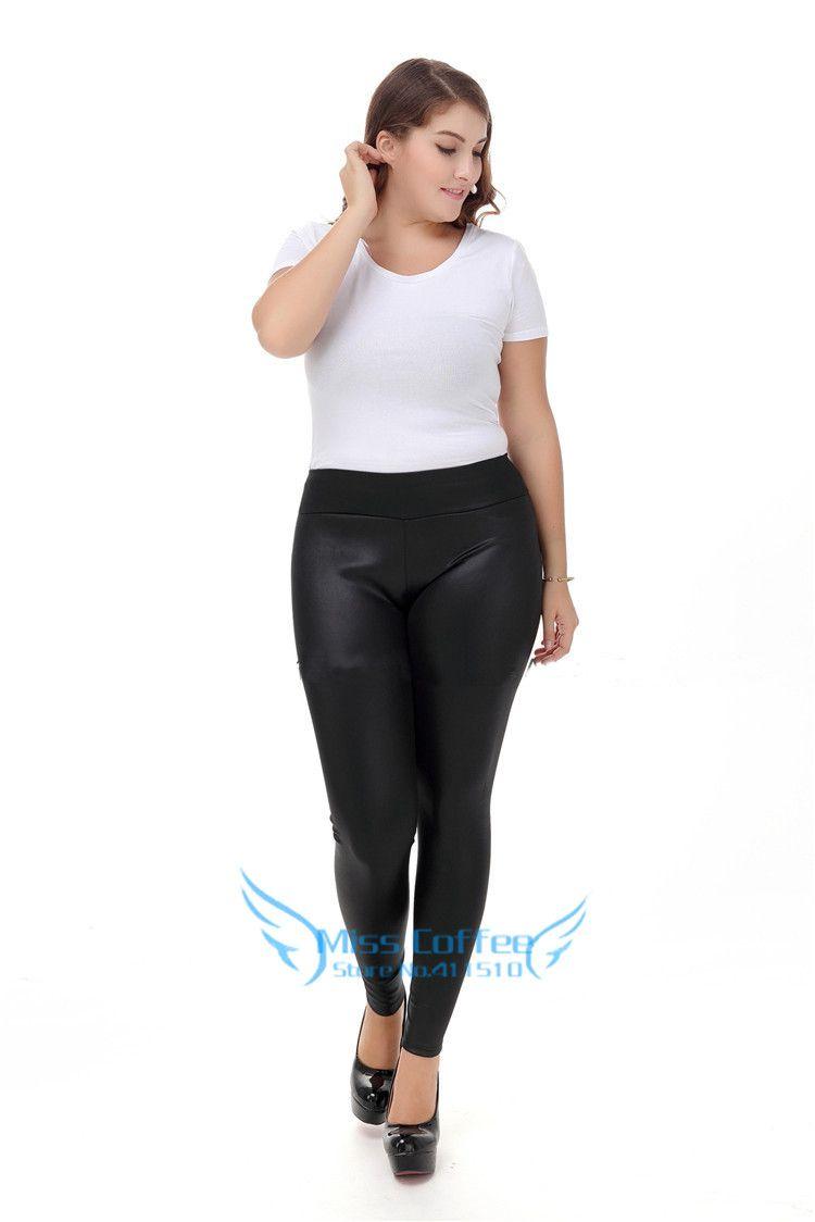Femmes pantalons grande taille S-XXXXXL 2017 hiver mode Long en cuir pantalon noir Skinny pantalon taille haute PU cuir