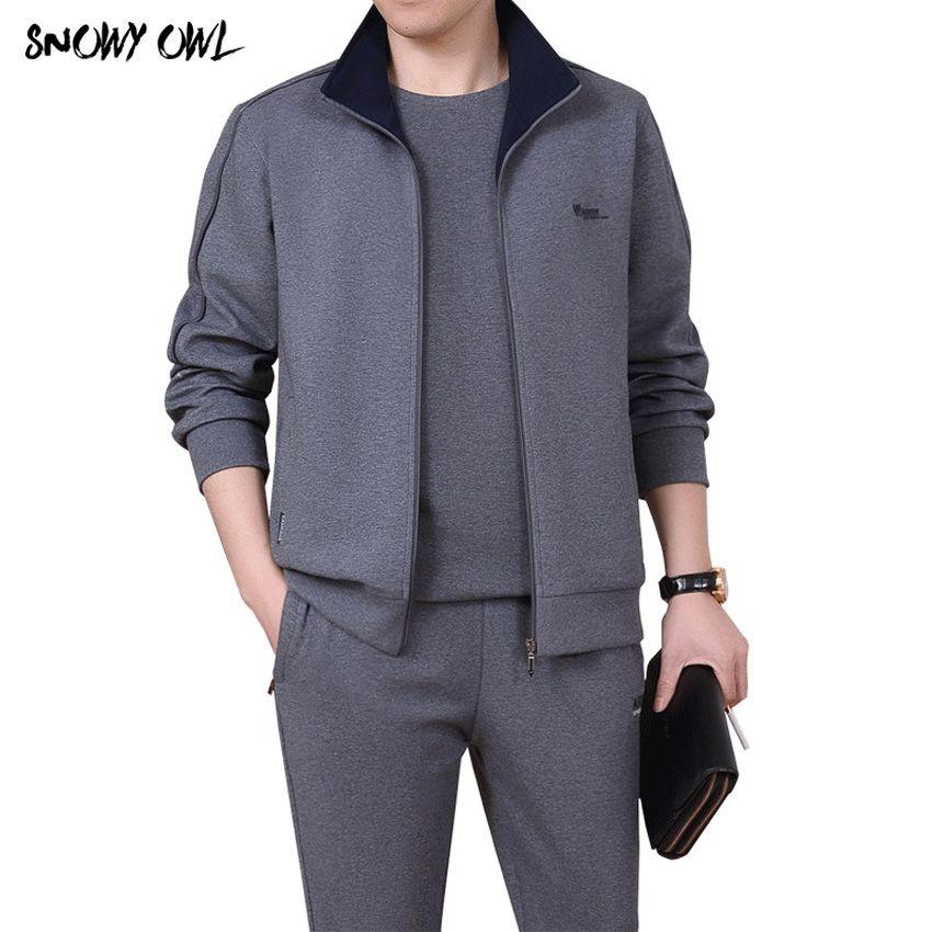 2018 Men 3 pieces Cotton Sportwear Suit Spring/fall Men Fitness Comfortable Tracksuit Sport Good Quality Running Sets L-5XL h185