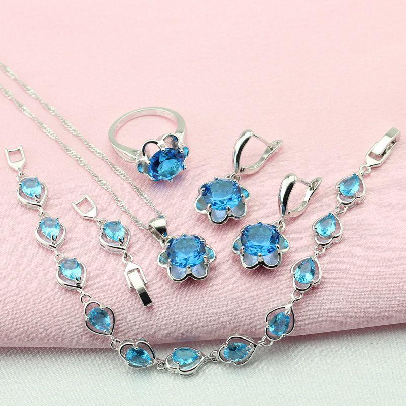 WPAITKYS Trendy Blue Cubic Zirconia Color Plata Sistemas de La Joyería Para Las Mujeres Gargantilla Collar Pendientes Pulsera Anillo de Caja de Regalo Libre