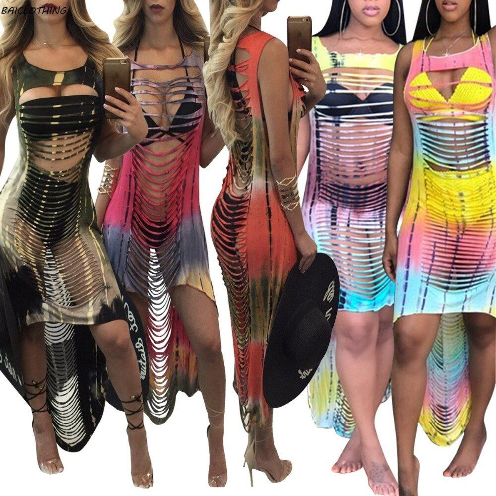 IASKY 2017 Sexy tassel hollow women Swimwear dress Gradient colorful beach Cover Up Bikini Cover Ups Swimsuit vestido