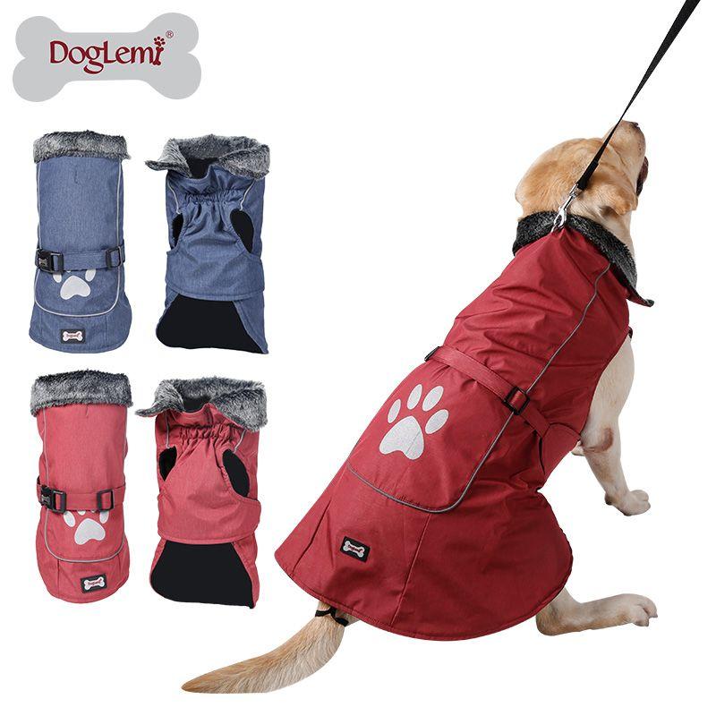 Водонепроницаемый и светоотражающие одежда для собак Зимний теплый меховой воротник жилет куртка пальто спортивная одежда для маленький с...