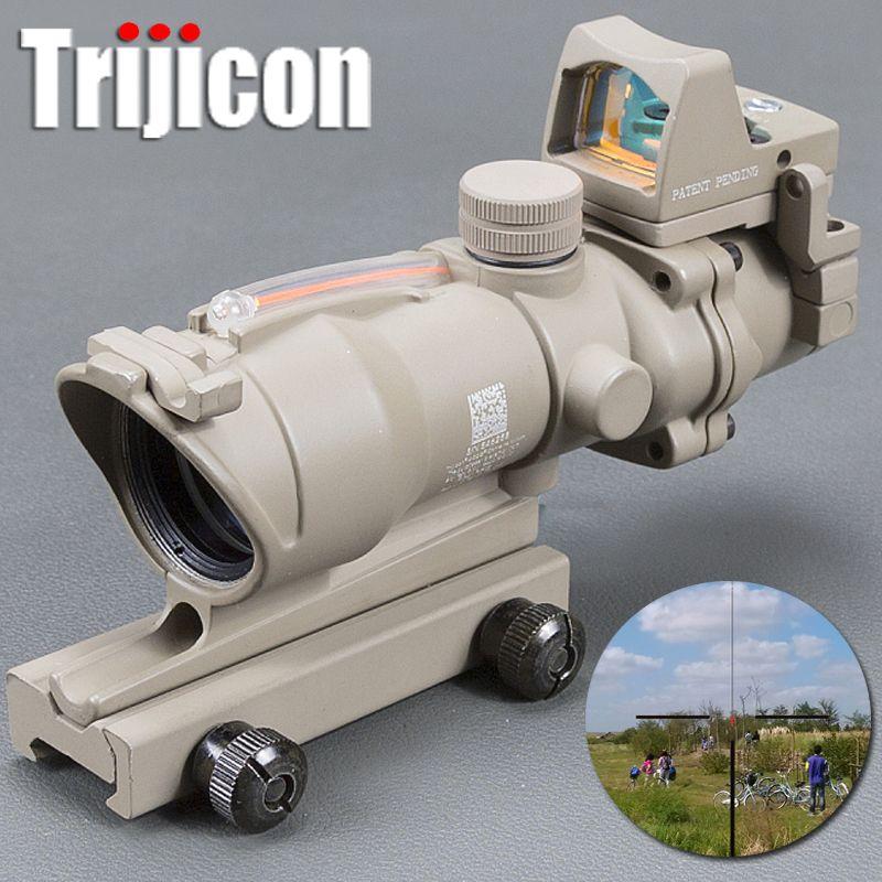 Acog 4x32 Tan Tactical Real Fiber Optic Red Illuminated Collimator Red Dot Sight Hunting Riflescope Riser Scope