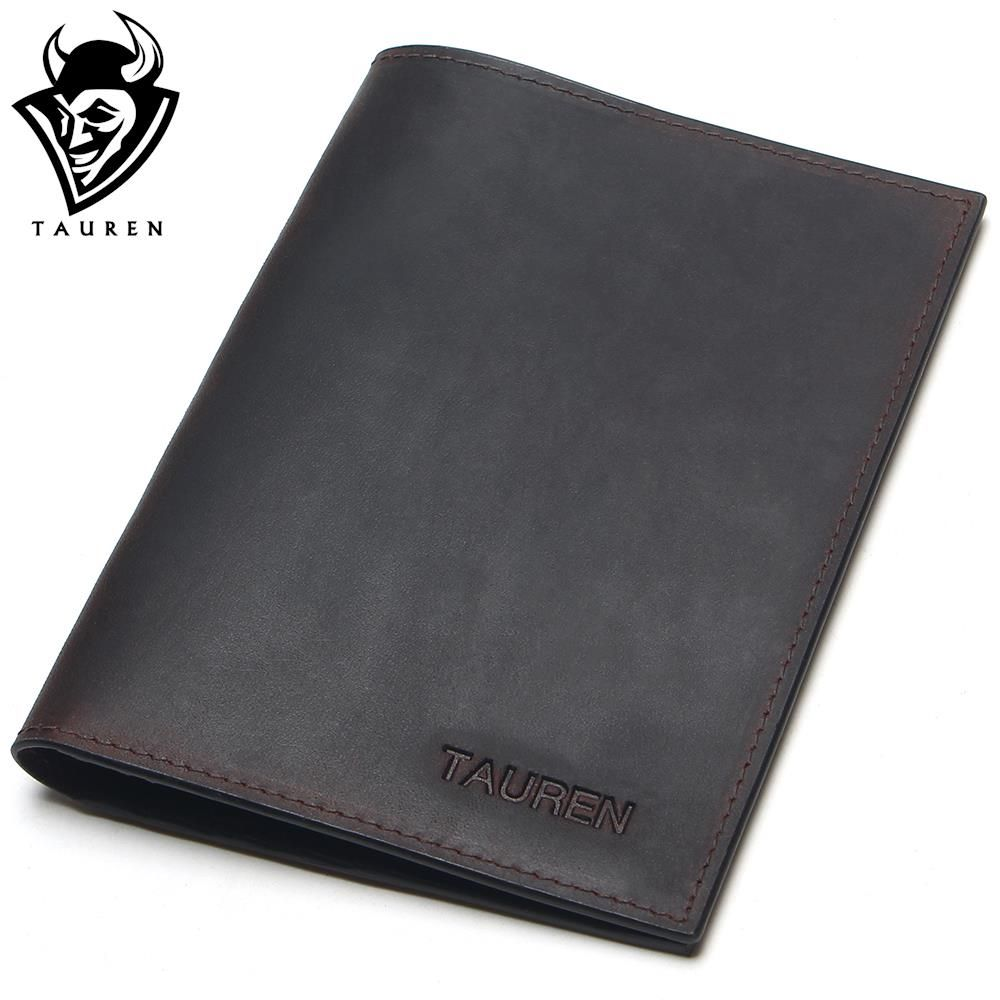 Tauren Crazy Horse Leather Passport Cover Retro Business Card Holder Men Credit Card ID Holders Genuine Leather Travel Wallets