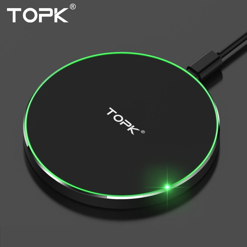 TOPK Wireless Charger Pad for iPhone X 8 Plus Ultra <font><b>Thin</b></font> 10W Fast Wireless Charging for Samsung Galaxy Note 8 S8 Plus S7 Edge