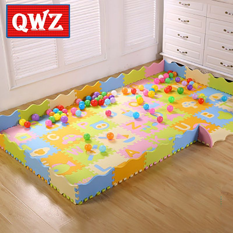 QWZ Puzzle Eva Foam Material Play Fence Mat For Infant And Kid Jigsaw Pad Floor For Baby Crawling Mat Cartoon Puzzle Mat 54PCS