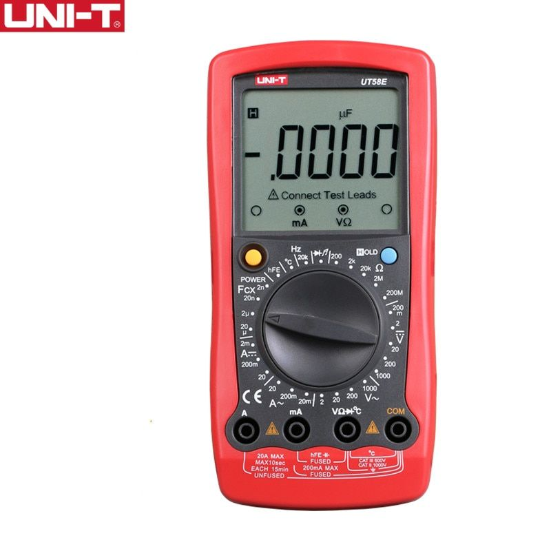 UNI-T UT58E General Digital Multimeters Full Icon LCD DisplayTemperature Frequency Capacitance Diode Transistor AC/DC Tester