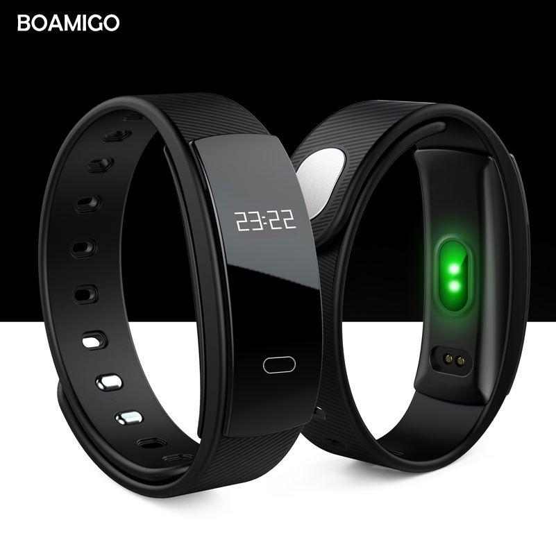 Smart montres BOAMIGO marque bracelet bracelet bluetooth fréquence cardiaque message rappel Surveillance Du Sommeil pour IOS Android téléphone