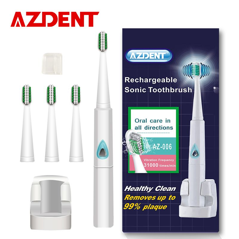 AZDENT 110v/220v Wireless Rechargeable Ultrasonic Electric Toothbrush Sonic Teeth Tooth Brush 4 Pcs Replacement <font><b>Heads</b></font> Kid Adult