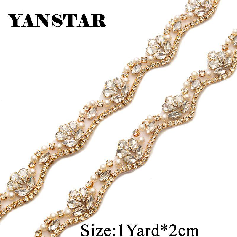 YANSTAR Handmade Rhinestone Applique By The 2CM*50Yards Trim Sewing On Bridal Gown Belt YS810