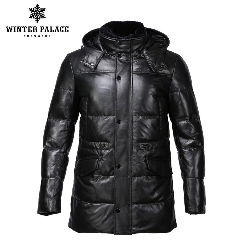 Suit style leather jacket men Bring hat leather jacket Internal Cotton jacket mens genuine leather Warm jaqueta de couro