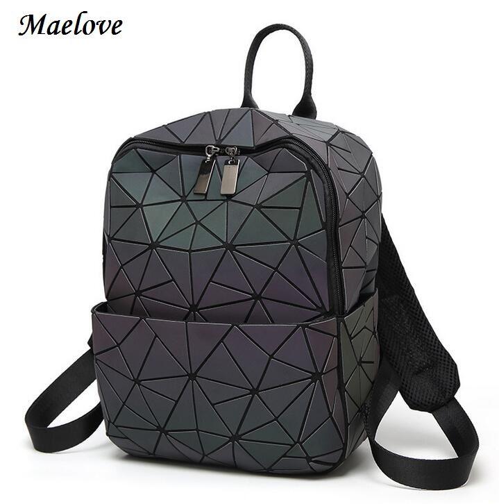 Maelove Luminous backpack 2018 Hot women geometry lattic backpack Noctilucent Bag Student's School Bag Free Shipping