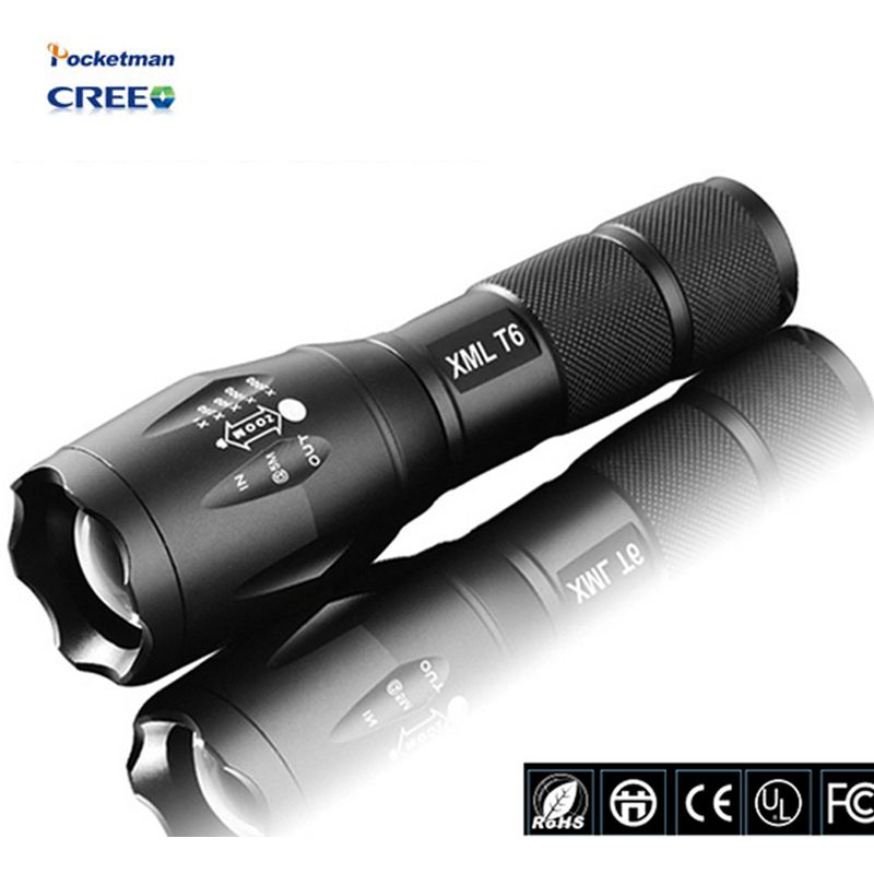 E17 Flashlight 3800Lumens cree led CREE XM-L T6 Torch Zoomable cree LED Torch light For 3xAAA or 1x18650 Camping Hiking