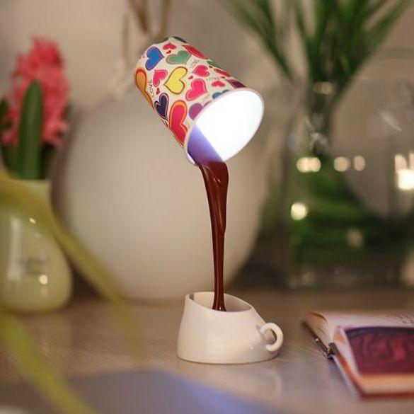 USB de la novedad DIY 8 LED Taza de Café Lámpara de Mesa de Ahorro de Energía de Luz de La Lámpara del Escritorio del Hogar de CLH