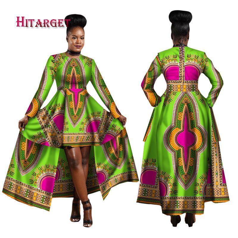 Hitarget 2018 African Dresses for Women Dashiki Cotton Wax Print Batik Sexy Long Dress for Femal Traditional clothing WY1268
