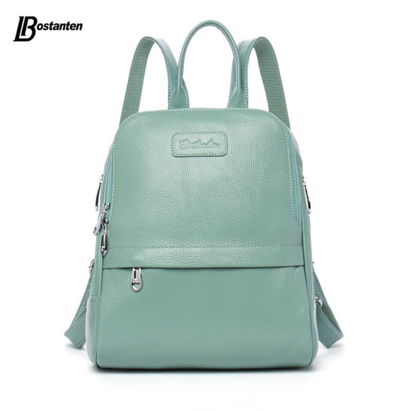 Bostanten Fashion Genuine Leather Backpack Women Bags Preppy Style Backpack Girls School Bags Zipper Kanken Leather Backpack
