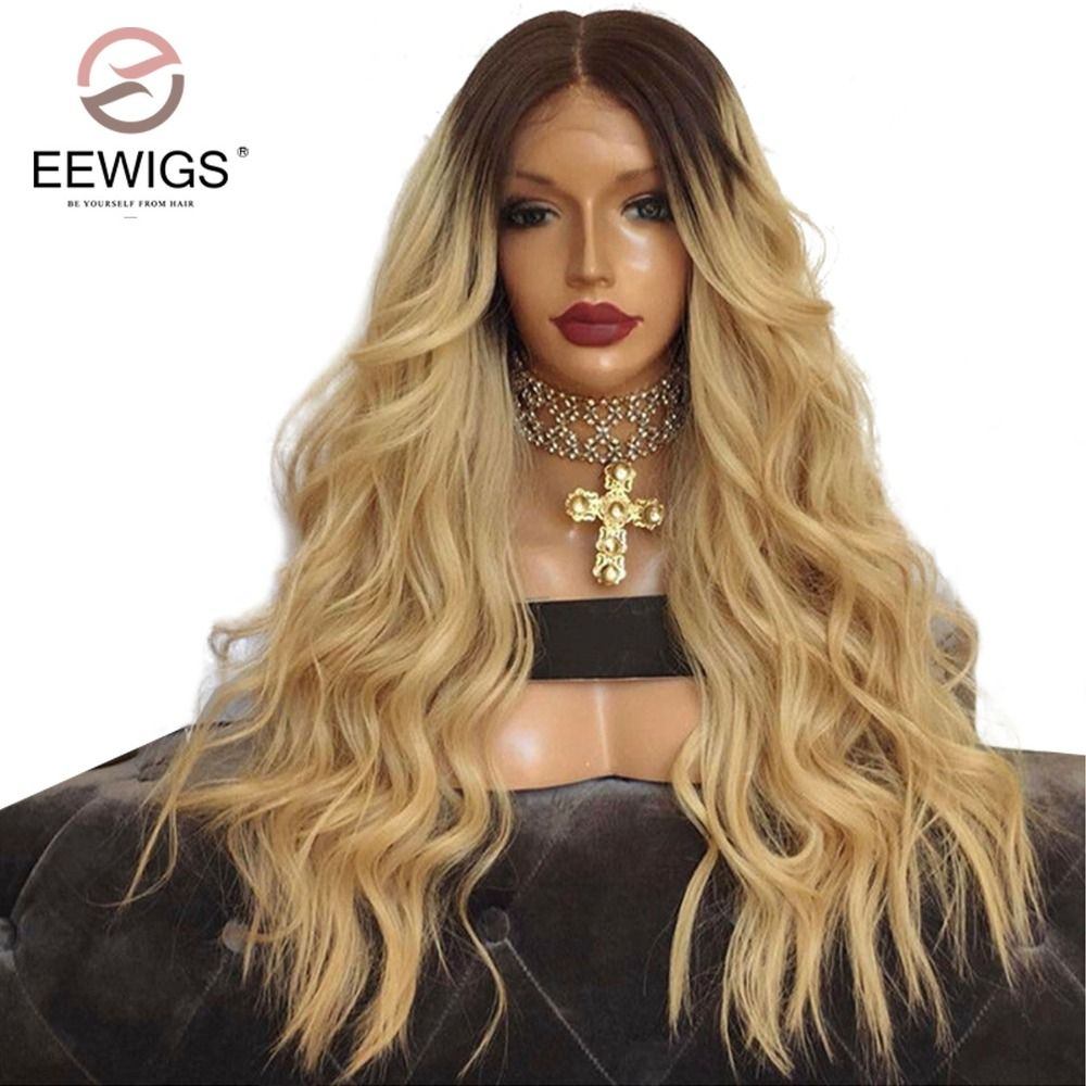 <font><b>Synthetic</b></font> Lace Front Wig Natural Long Natutral Wave Wigs Black Root Ombre Blonde 2 Tones Color Wigs Middle for Women Heavy Wigs