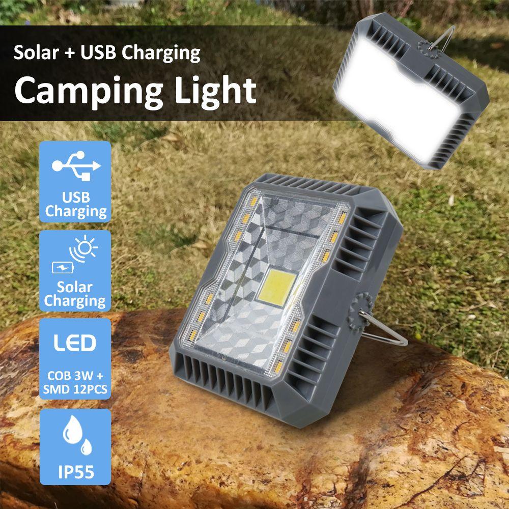 Lanterne Portable Camping lumière USB + lampe de poche de charge solaire Camping tente lumière extérieure Portable lampe suspendue solaire Led lanterne