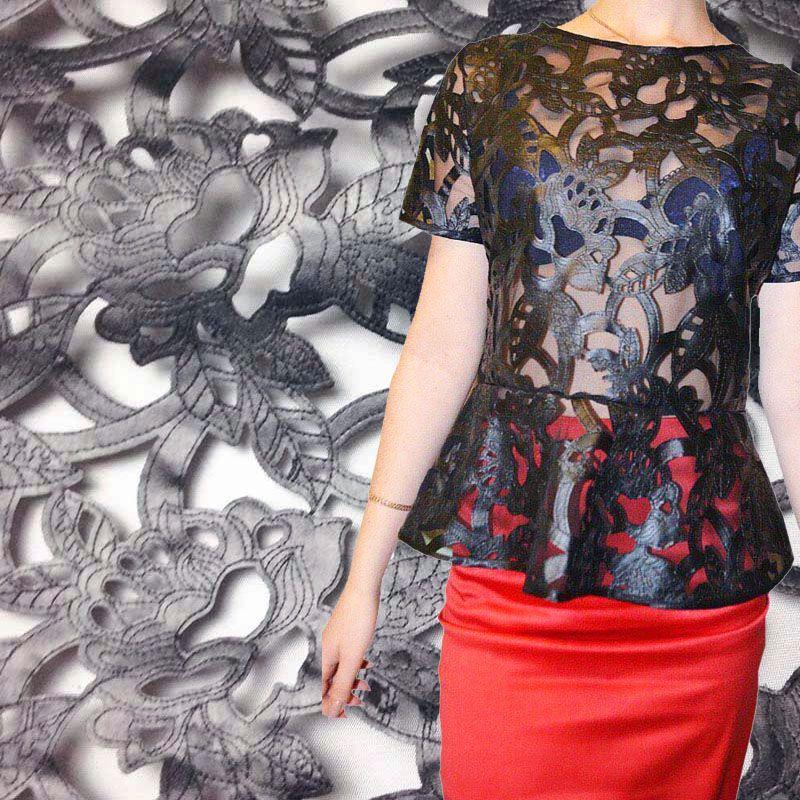 Tissu africain noir de dentelle, tissu de Faux cuir pour la robe, tissu nigérian de dentelle de tissu de couture d'habillement bricolage