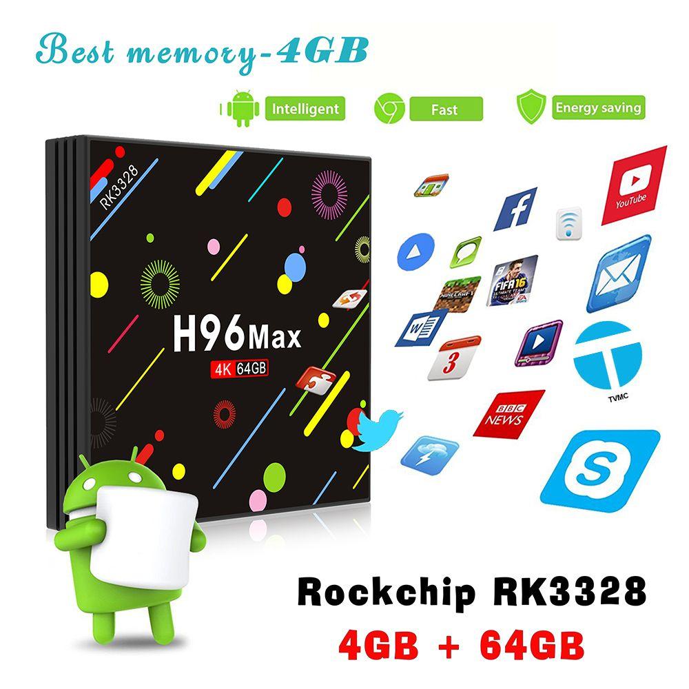 H96 Max H2 4G 64G Android 7.1 TV Box RK3328 Quad Core 4K Smart TV Box 2.4G/5G Dual WiFi Bluetooth 4.0 USB3.0 Media Player Box TV