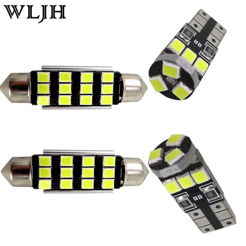 WLJH 20x Pure White Canbus Error Free Car Led Dome Vanity Puddle Footwell LED Interior light Kit for BMW X5 - E70 2007 - 2013