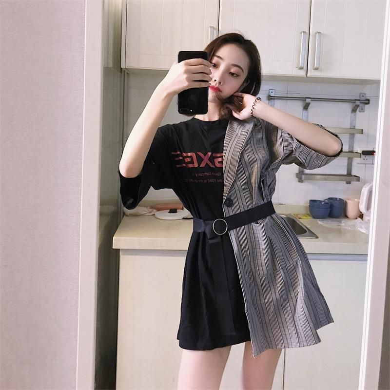 Ins Lattice Stitching Fake Two Piece Letter Dress Women's Clothes Japan Kawaii Retro Female Korean Harajuku Dresses For Women