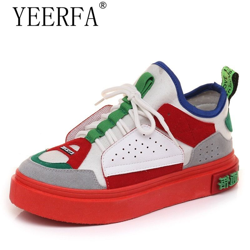 New Mixed Colors Sneakers Women Thick Sole Platform Shoes Vintage Flat Shoes Woman Casual Dames Schoenen