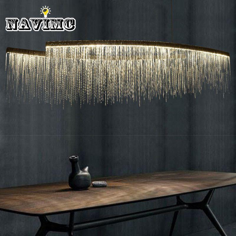Moderne Aluminium Kette Meteorschauer led Pendelleuchte für Hotel Halle Restaurant Esszimmer Silber Kreative Hängen Pendelleuchte
