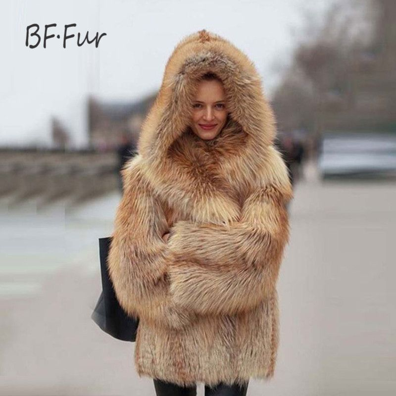BFFUR Fashion Luxury Real Fur Coat Silver Fox Fur Coats Genuine Leather Women Overcoat Winter Thick Warm 70cm Long Clothing F-08