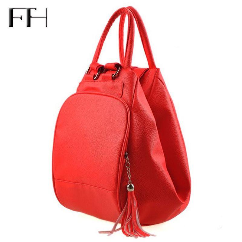 <font><b>Practical</b></font> women multifunctional Backpack female shoulder bag lady totes tassel pendant schoolbag for girls Package bolsa mochila