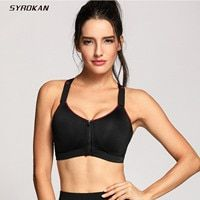 SYROKAN Women's Active Front Zipper High Impact Support Workout Sports Bra